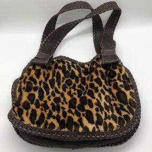 Desmo Leather and Faux Fur Shoulder Bag